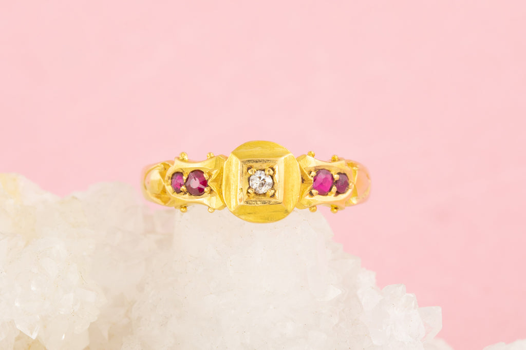 Antique 18ct Gold Diamond Ruby Five Stone Ring