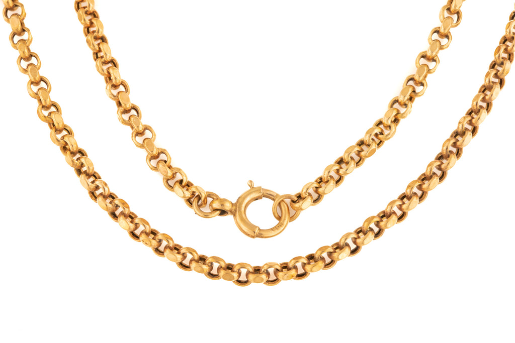"Victorian Rose Gold Faceted Belcher Chain, 17 & 5/8"" (9g)"