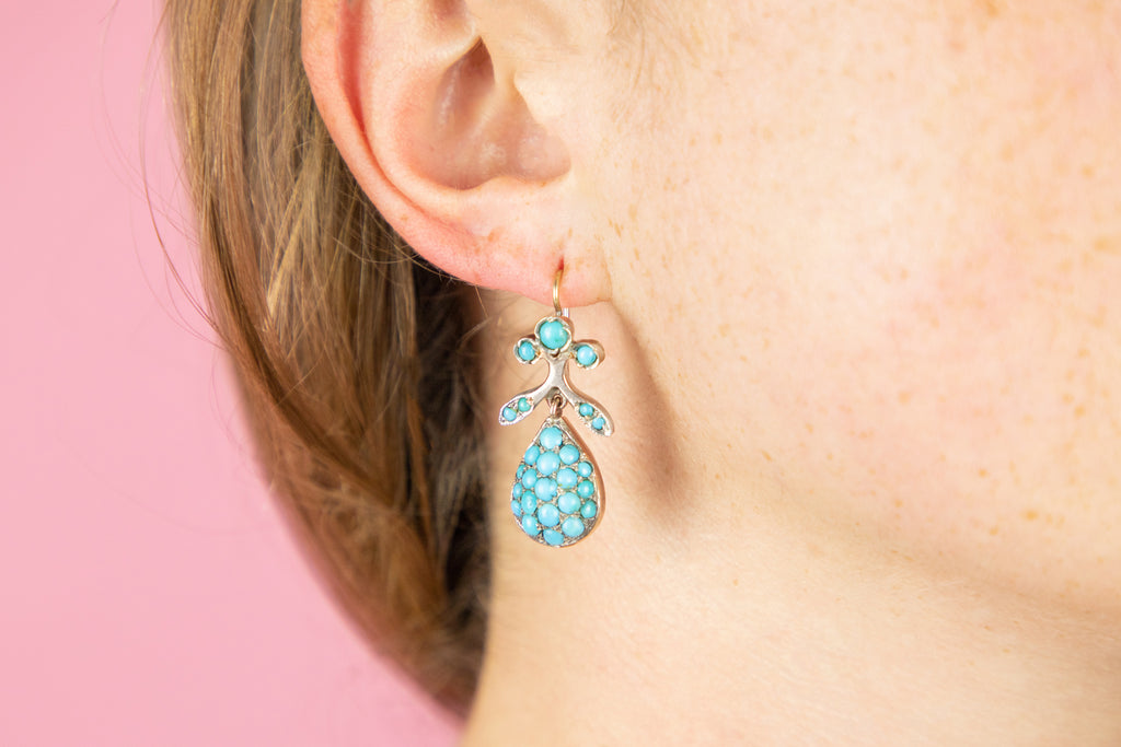 Victorian Turquoise Teardrop Earrings with Gold French Hooks (14.7g)