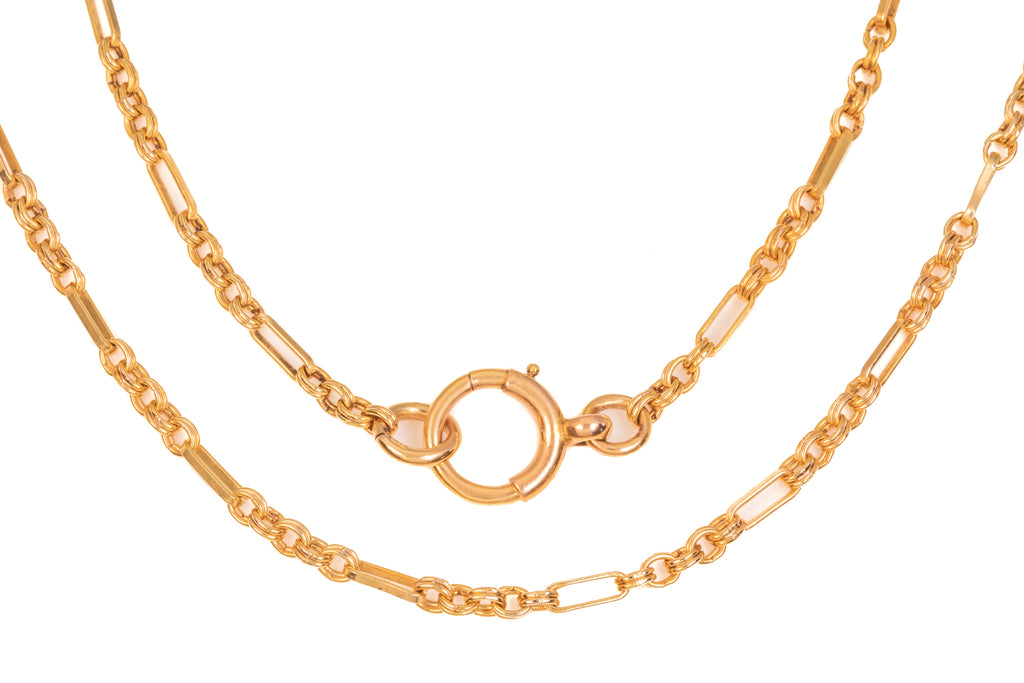 "Victorian Gold Fancy Link Chain with Large Bolt Ring, 24"" (13.8g)"