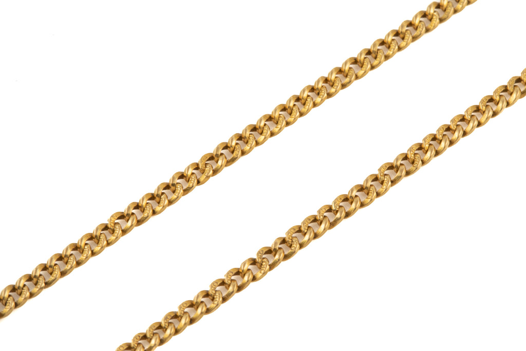 "Antique 18ct Gold Slim Curb T-bar Chain, 15 & 1/4"" (14.2g)"