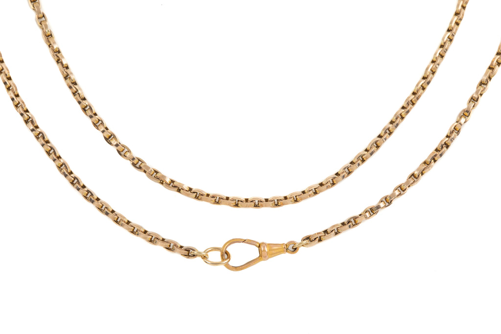 "Victorian Gold Rectangular Link Chain with Dog Clip, 21"" (8.2g)"