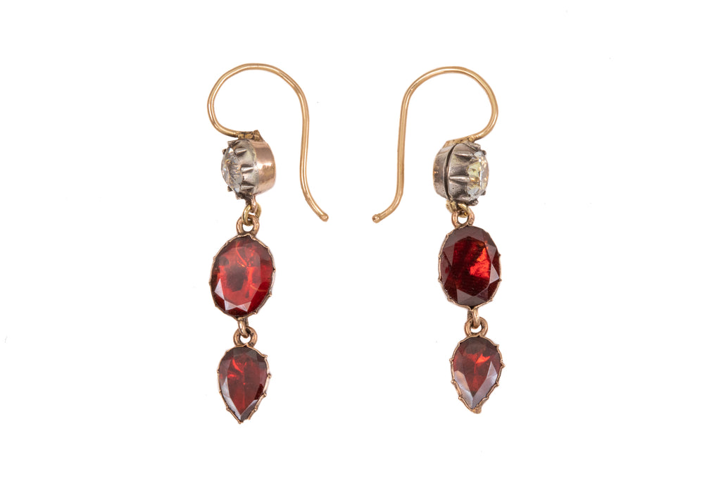 Georgian Black Dot Paste Garnet Drop Earrings