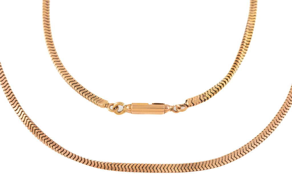 "Antique Rose Gold Snake Chain with 18ct Gold Bullet Clasp, 18"" (9.6g)"
