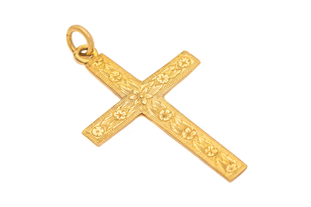 Antique 18ct Gold Cross Pendant with Forget-Me-Not Engravings