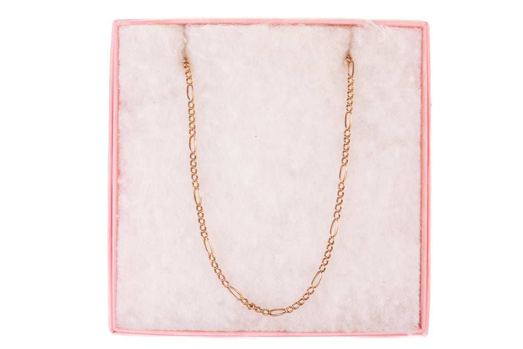 "Edwardian 15ct Rose Gold Figaro Chain, 20"" (5.6g)"