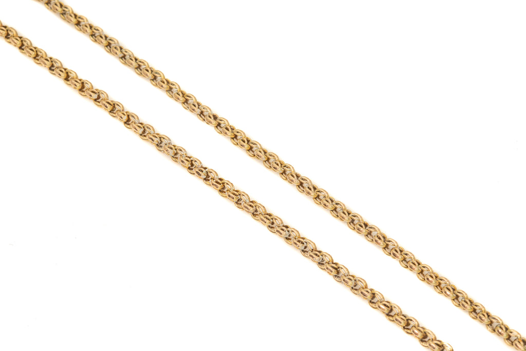 "Heavy Antique Gold Fancy Belcher Chain with Dog Clip Charm Holder, 30"" (21.1g)"