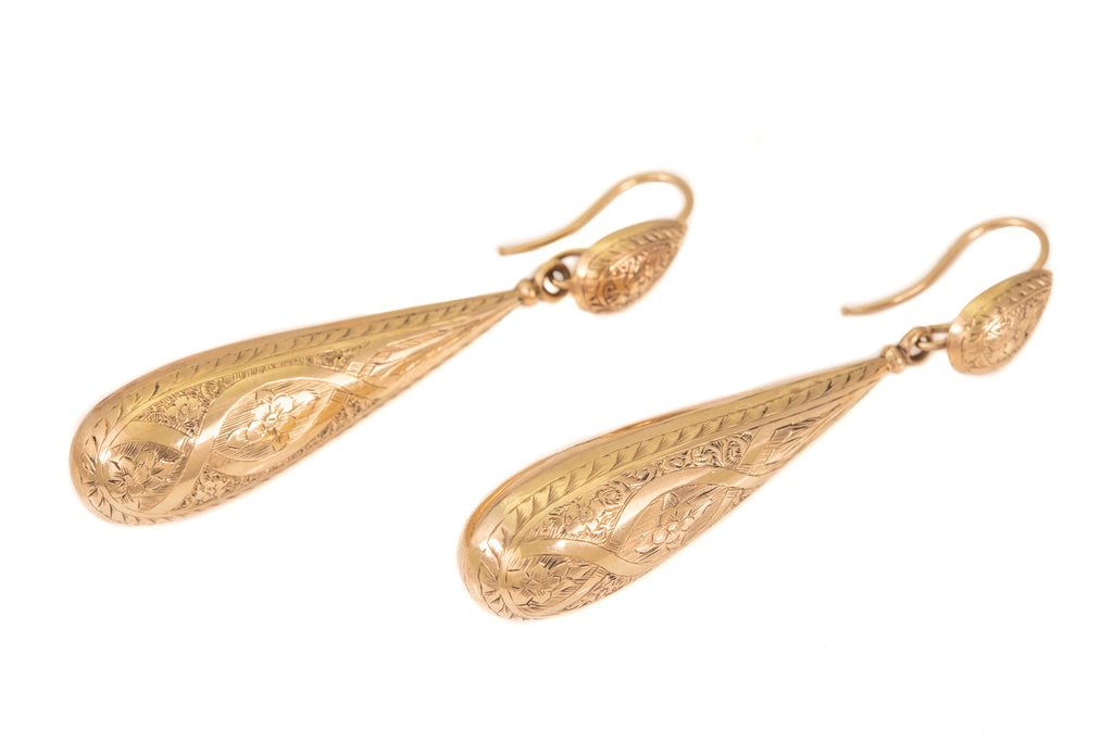 Incredible Antique 12ct Gold Torpedo Day and Night Earrings