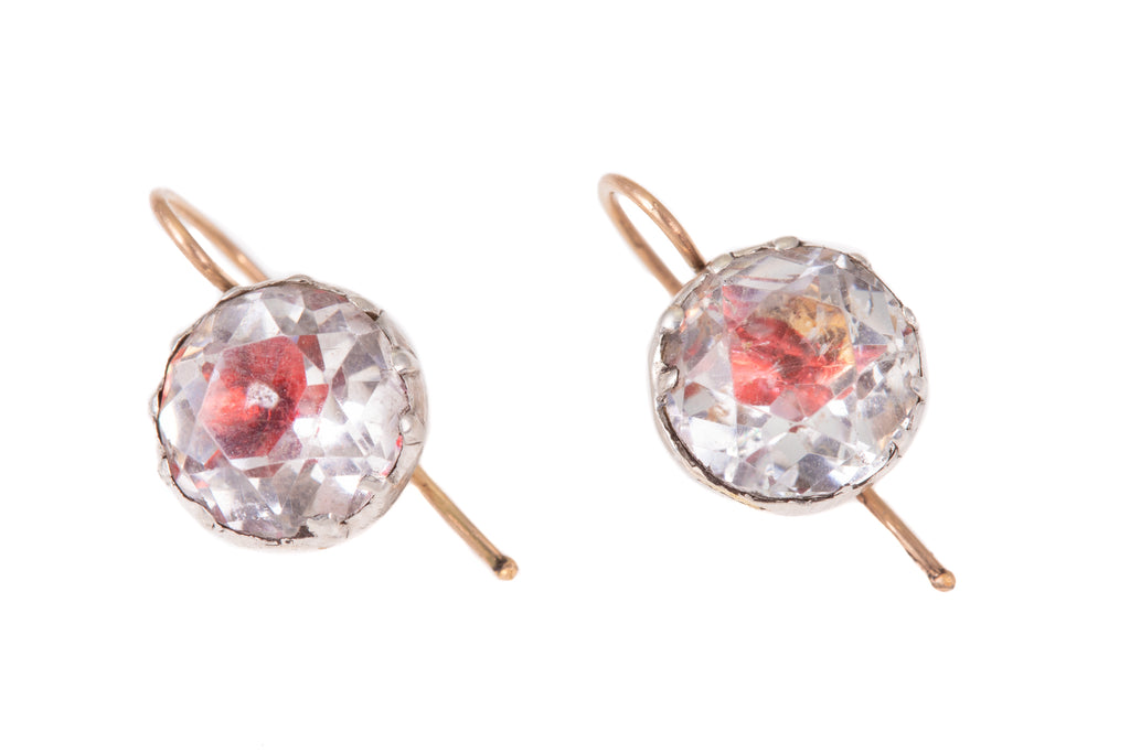 Georgian Pink Foil Paste Silver Earrings with Gold Hooks