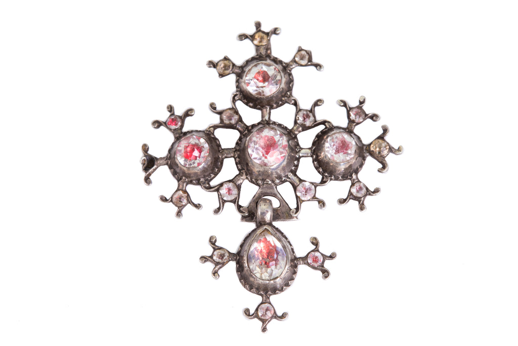18th Century Silver Pink Foiled Paste Cross Pendant
