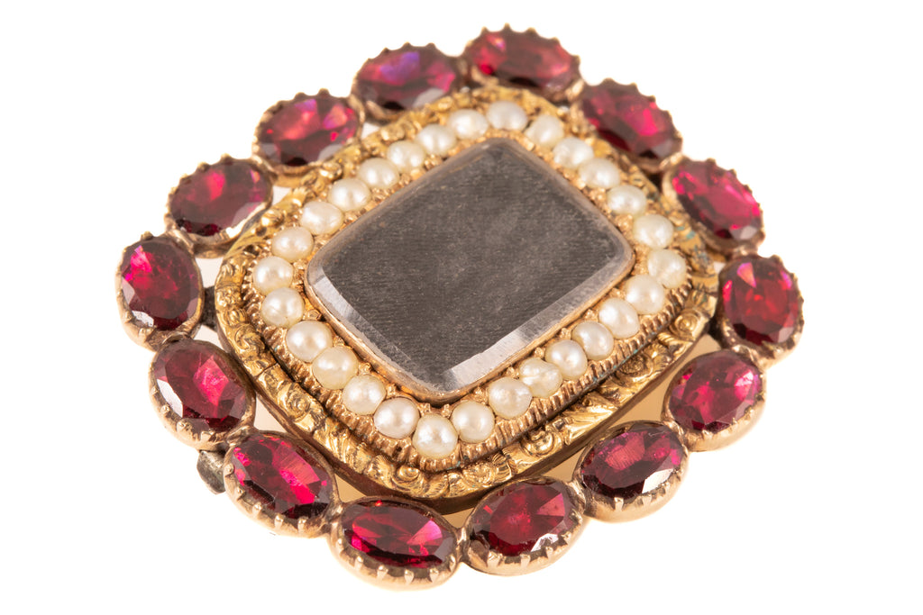 Georgian 15ct Gold Garnet Pearl Hair Brooch