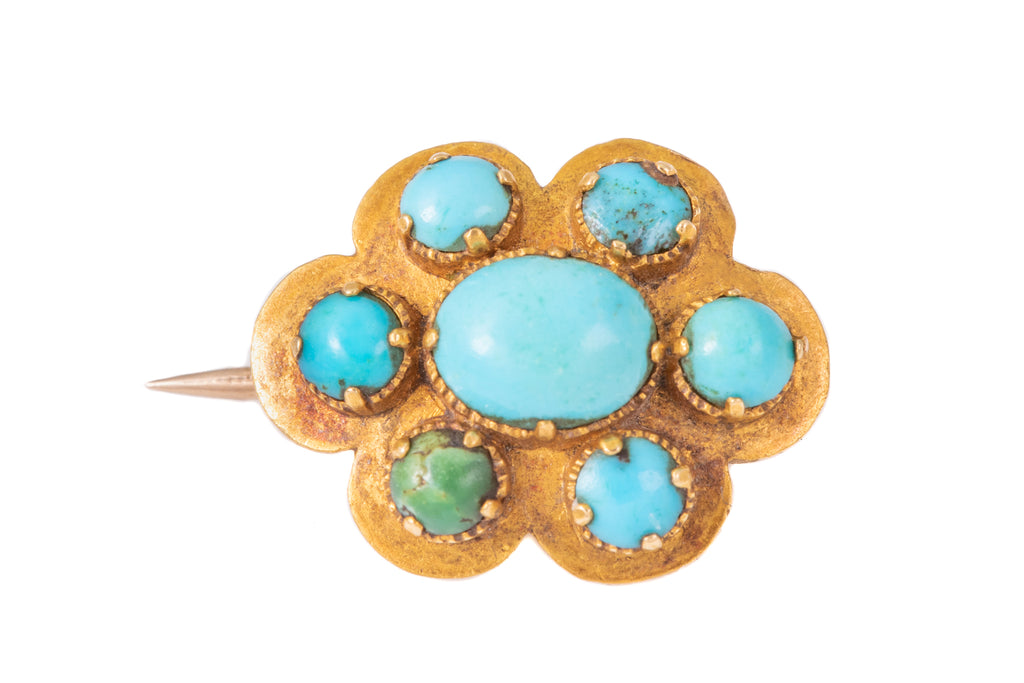 Petite Antique 15ct Gold Turquoise Brooch