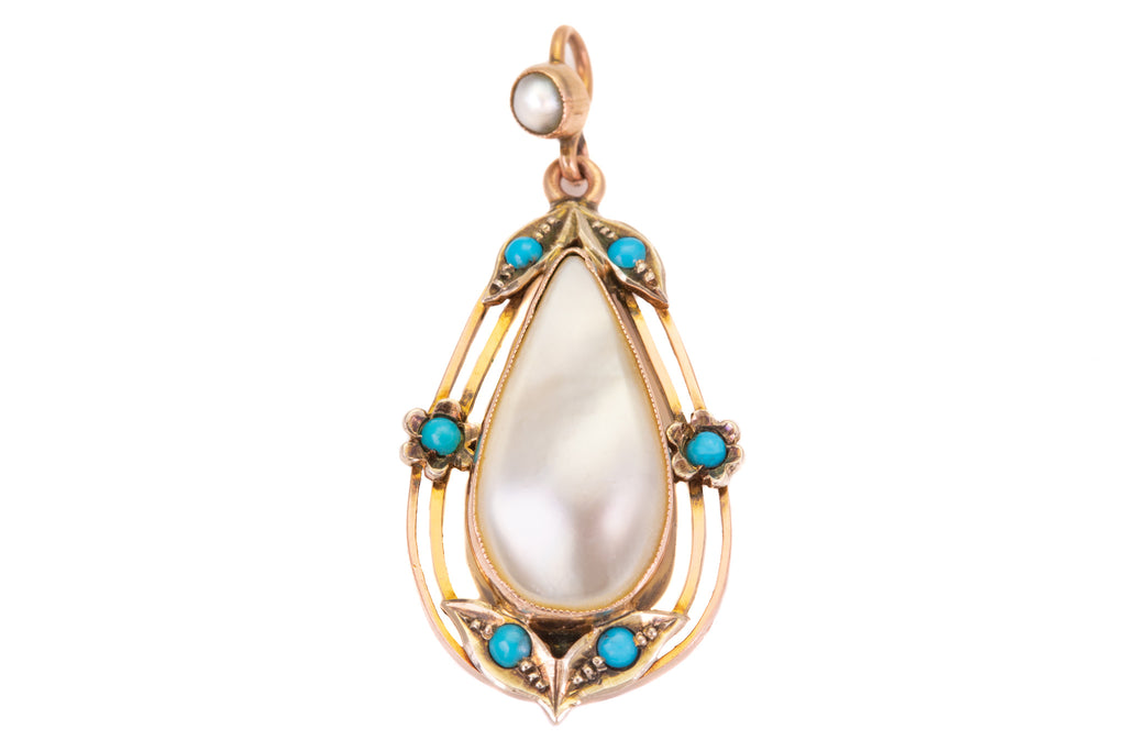 Art Nouveau Gold Mother of Pearl Turquoise Pendant