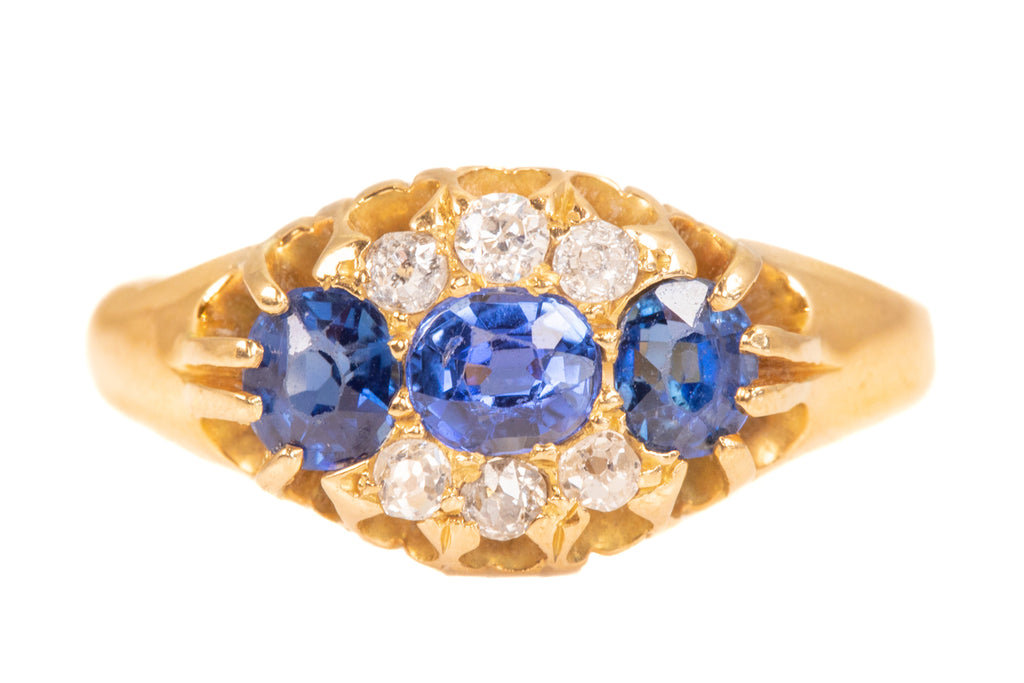Victorian 18ct Gold Sapphire Diamond Cluster Ring, c.1896. (0.60ct)