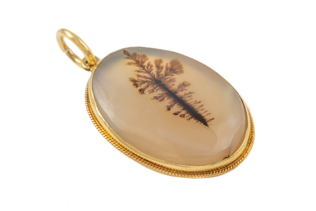 Antique 15ct Gold Moss Agate Pendant