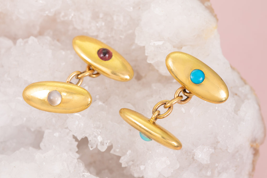 Antique 18ct Gold Cufflinks with Opal, Garnet, Turquoise and Moonstone