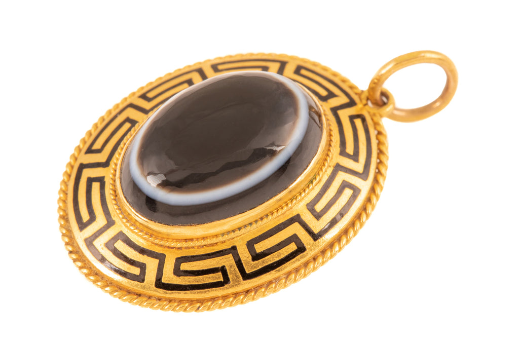 Victorian Etruscan Revival 18ct Gold Banded Agate Locket