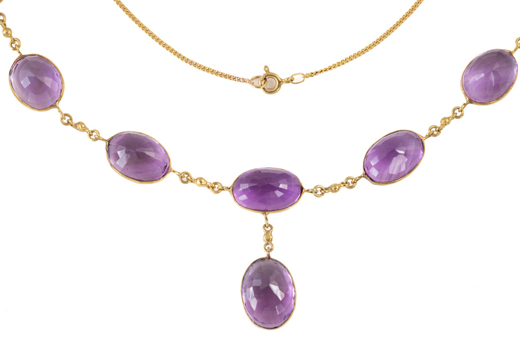 Victorian Gold Amethyst Necklace (41.60ct), 16 & 1/2""