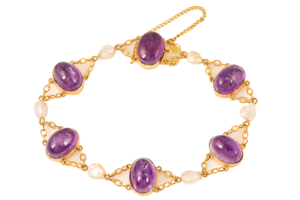 Antique Gold Baroque Pearl Amethyst Bracelet (21ct)