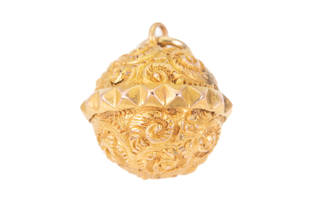 Victorian 15ct Gold Studded Sphere Pendant