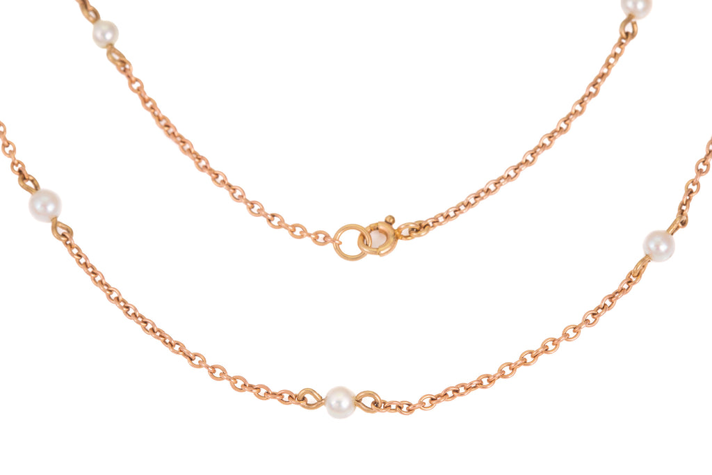 Antique Rosy Gold Pearl Chain, 17""