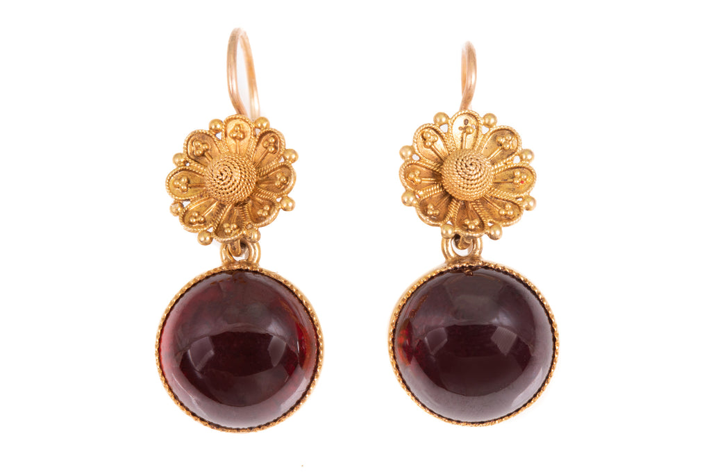 Victorian 18ct Gold Garnet Earrings with Floral Cannetille Details, (15.60ct)