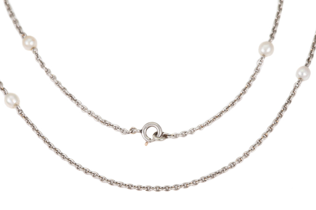 "Antique Platinum Pearl Necklace Chain, 17 & 3/8"" (9.3g)"