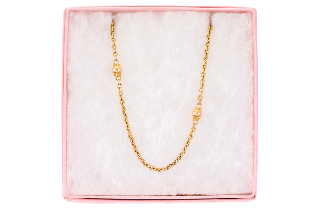 Antique 15ct Gold Ball Link Chain, 18 & 3/4""