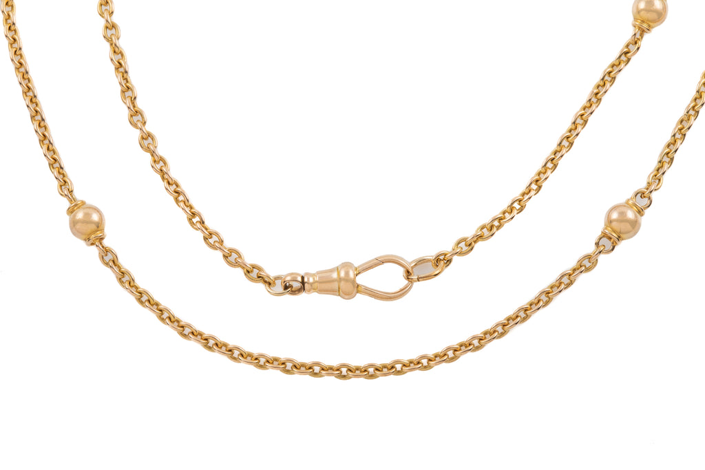 "Antique 15ct Gold Ball Chain, 16 & 1/2"" (10.7g)"