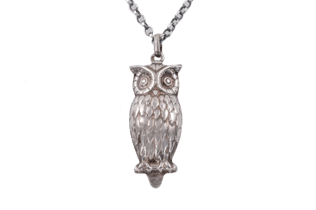 "Portuguese Silver Owl Pendant, with 20"" Chain"