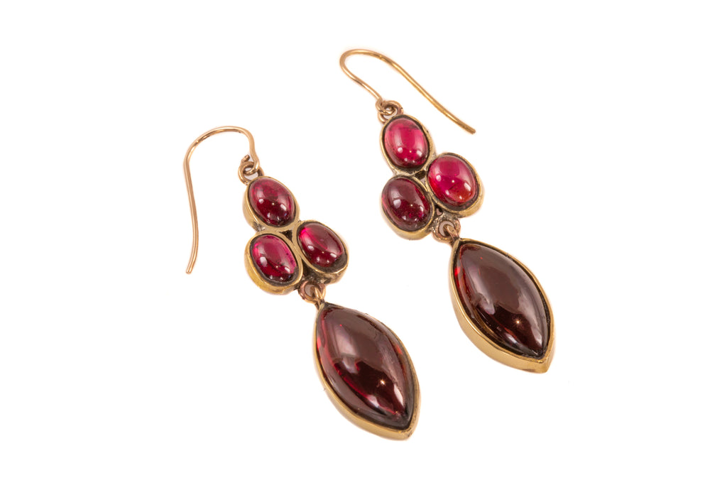 Antique Garnet Cabochon Drop Earrings with Gold Hooks, (21.00ct)