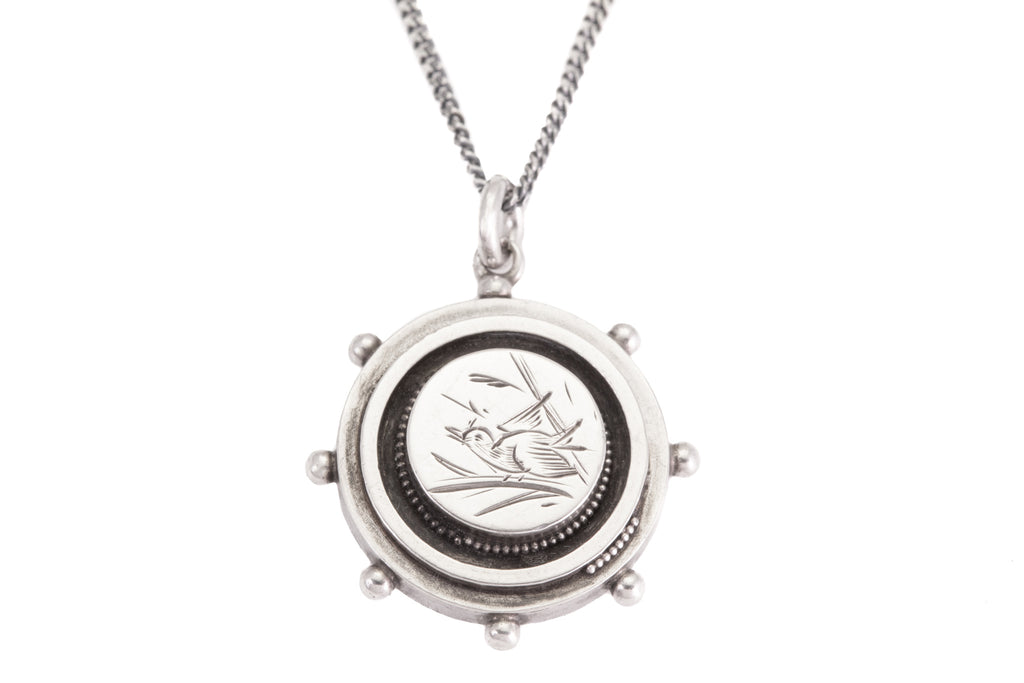 "Victorian Aesthetic Silver Bird Disc Pendant, with 18"" Chain"