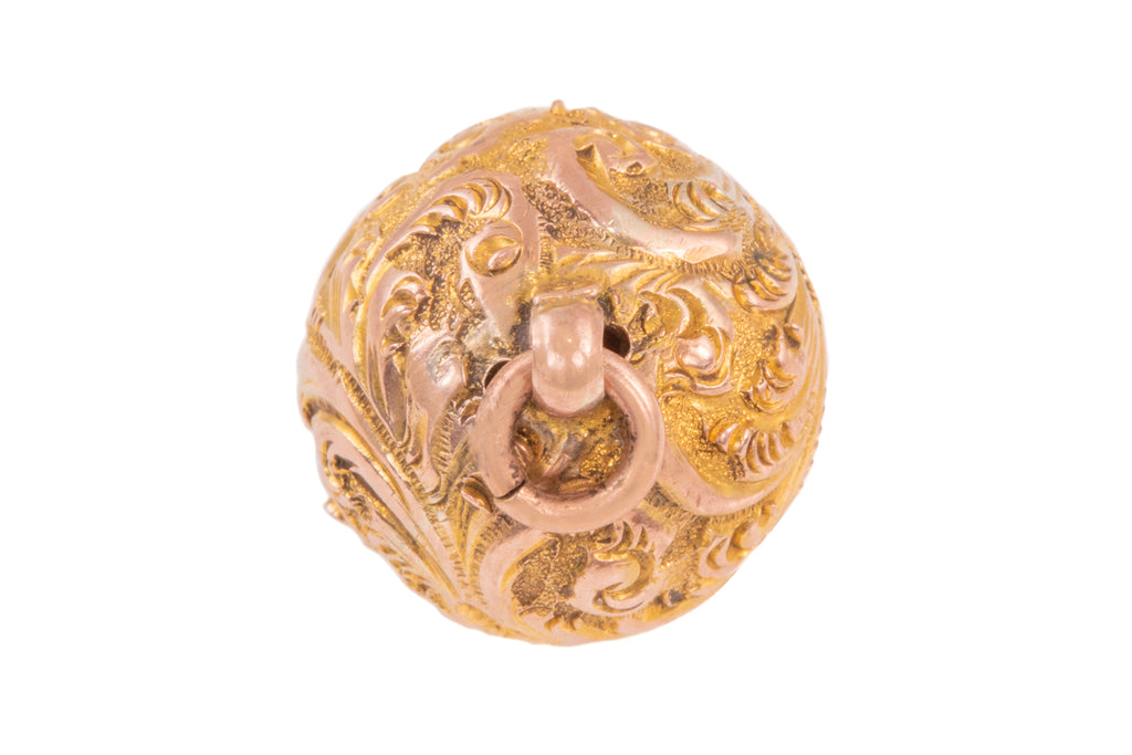 Antique Gold Repoussé Sphere Pendant