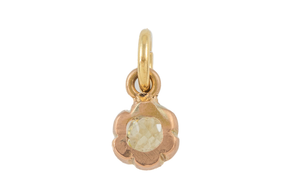 Victorian 15ct Gold Old Mine Cut Diamond Pendant, (0.15ct)