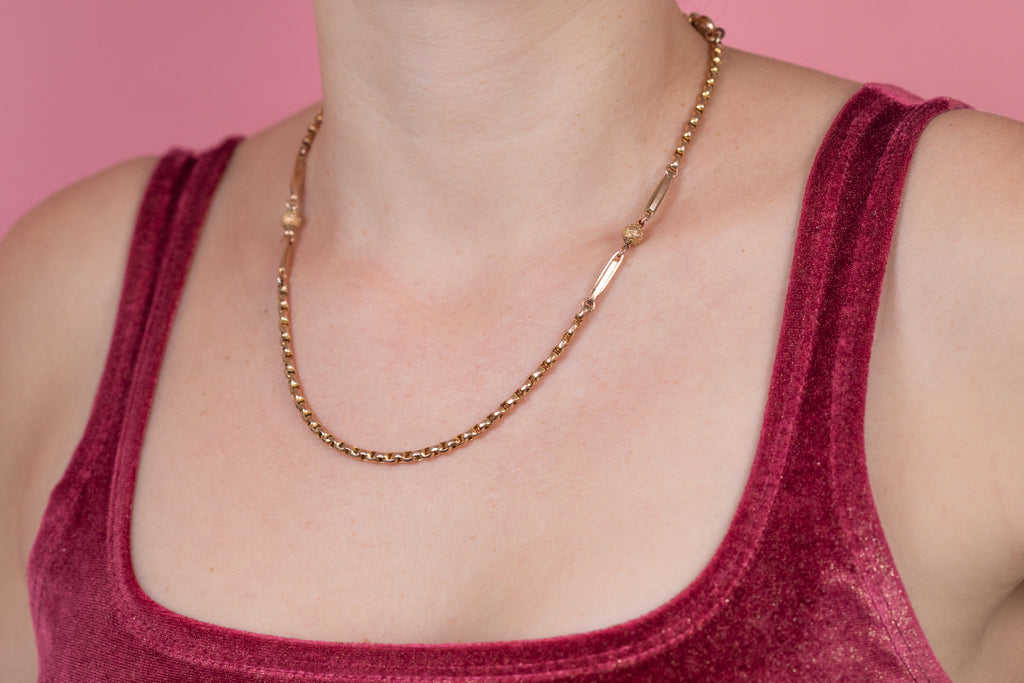 "Victorian Gold ""Ball and Tether"" Belcher Chain, 18 & 1/2"" (15.2g)"
