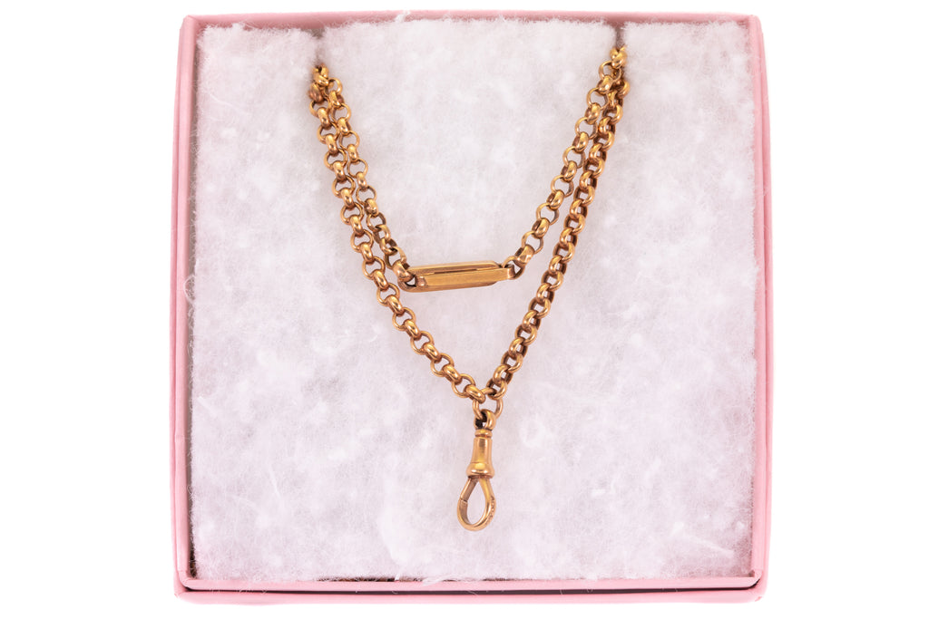 "Antique Gold Belcher Chain with Chunky Paperclip Links, 58 & 1/2"" (25.8g)"