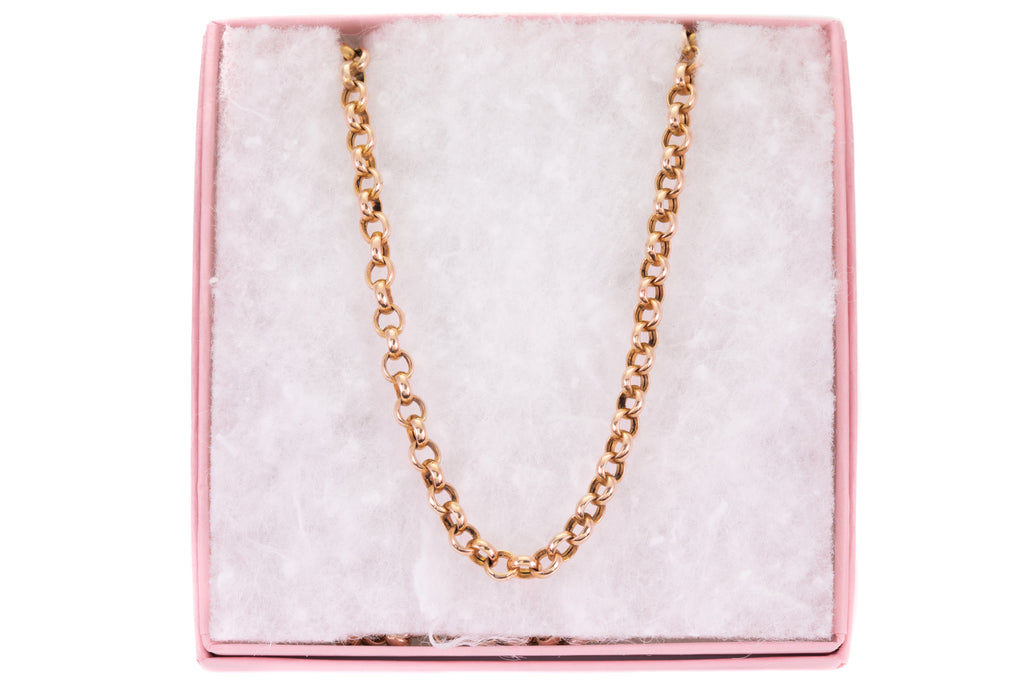 "Antique Gold Chunky Belcher Chain with Large Bolt Ring, 20 & 3/4"" (11g)"