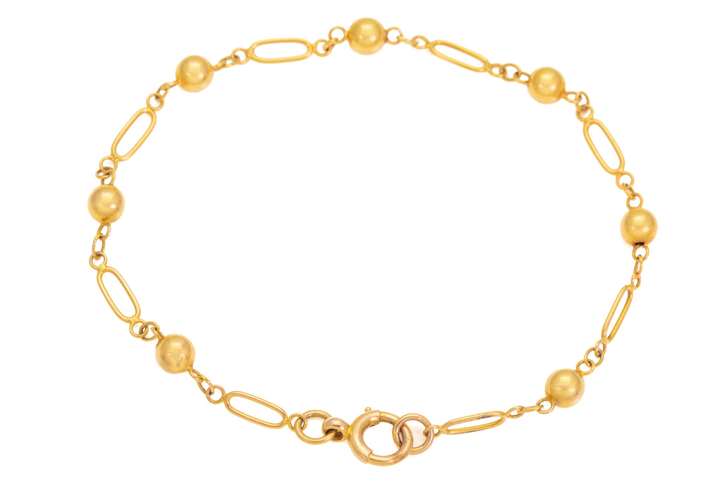 Antique Bright 15ct Gold Ball Link Bracelet, 7 & 1/2""