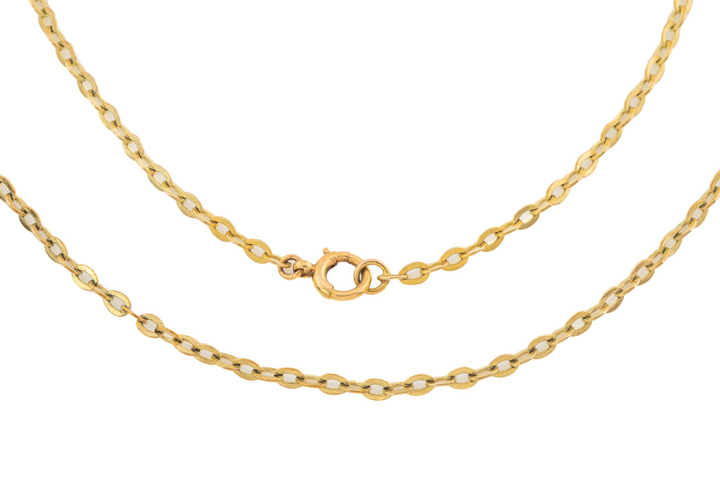 "Early 20th Century Gold Flat Link Chain, 25 & 3/4"" (6.2g)"