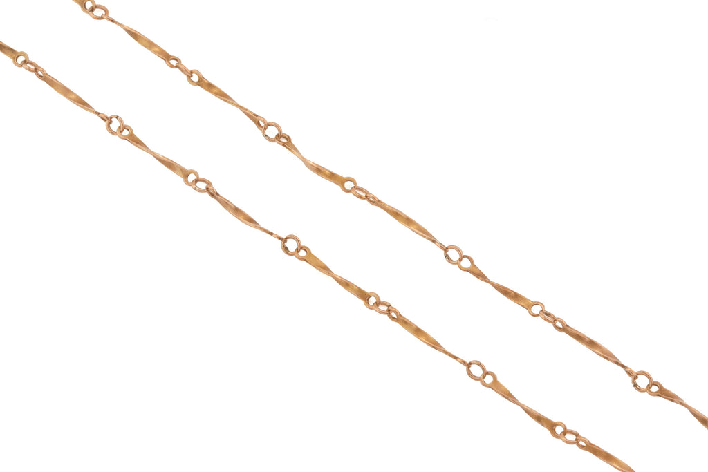 "Victorian 9ct Gold 17.5"" Twisted Bar Link Chain, (3.1g)"