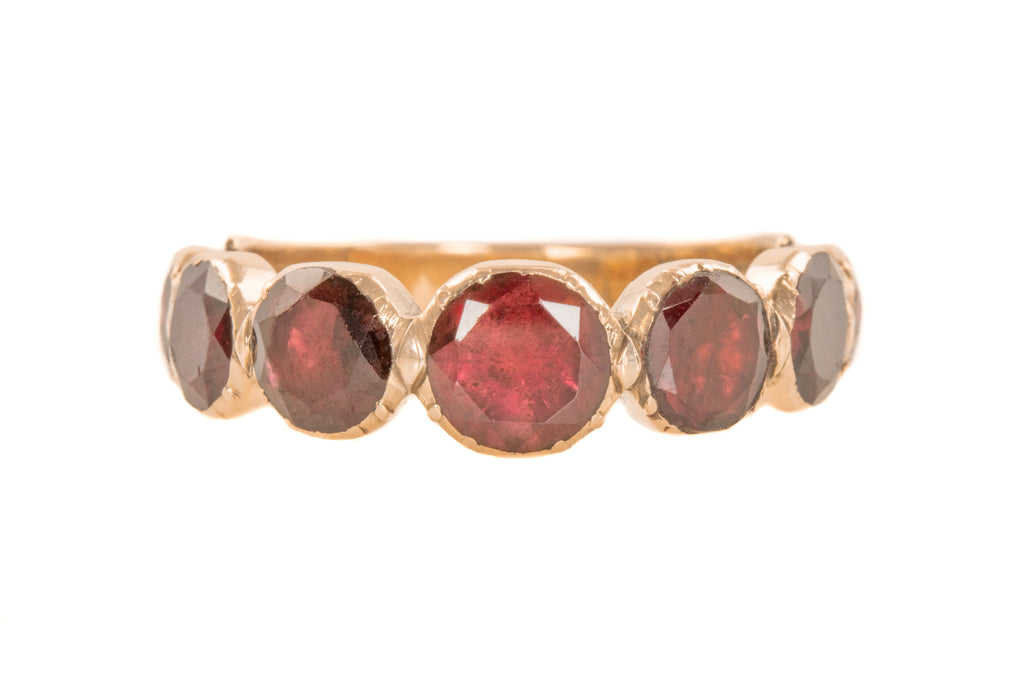 Antique Gold Flat Cut Garnet Ring