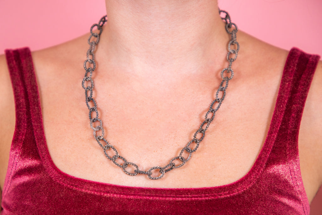"Incredible Antique Silver Statement Chain, 21"" (33.3g)"