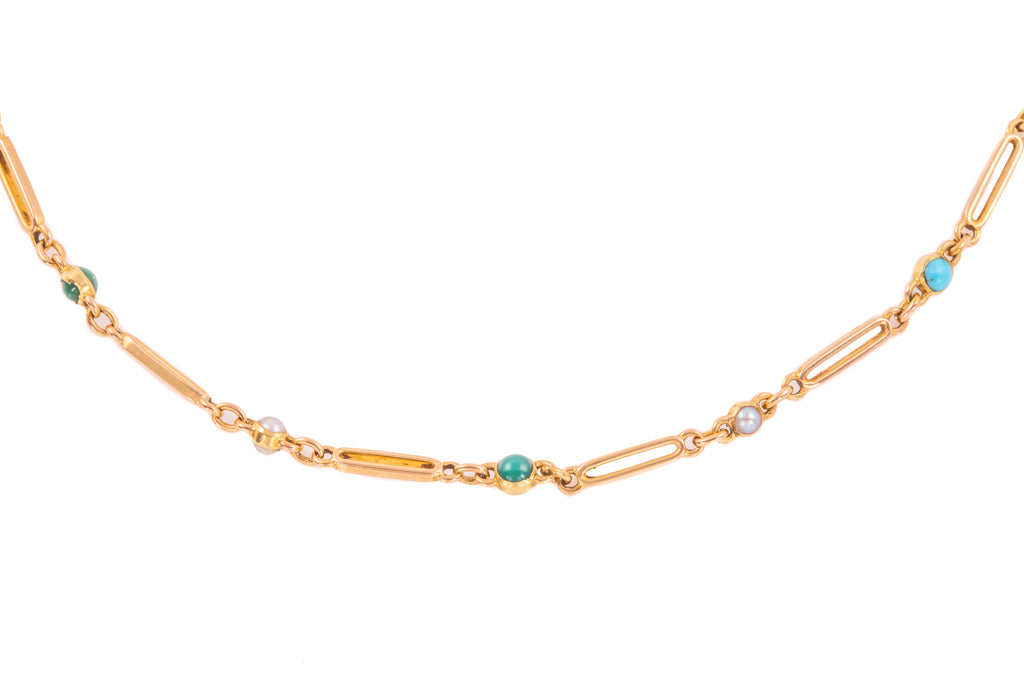 "Antique 15ct Gold Turquoise Pearl Necklace, 16"" (9.4g)"