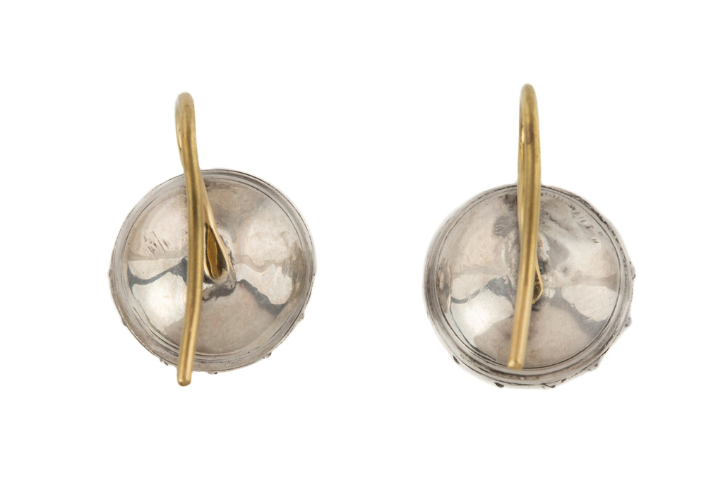 Georgian Silver Foiled Paste Earrings, with 18ct Gold Hooks