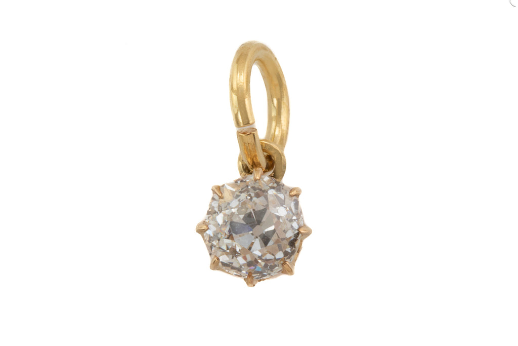 Victorian 15ct Gold Diamond Pendant, (0.40ct)