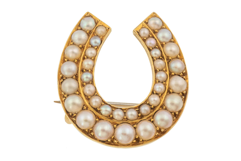 Antique 15ct Gold Pearl Horseshoe Brooch