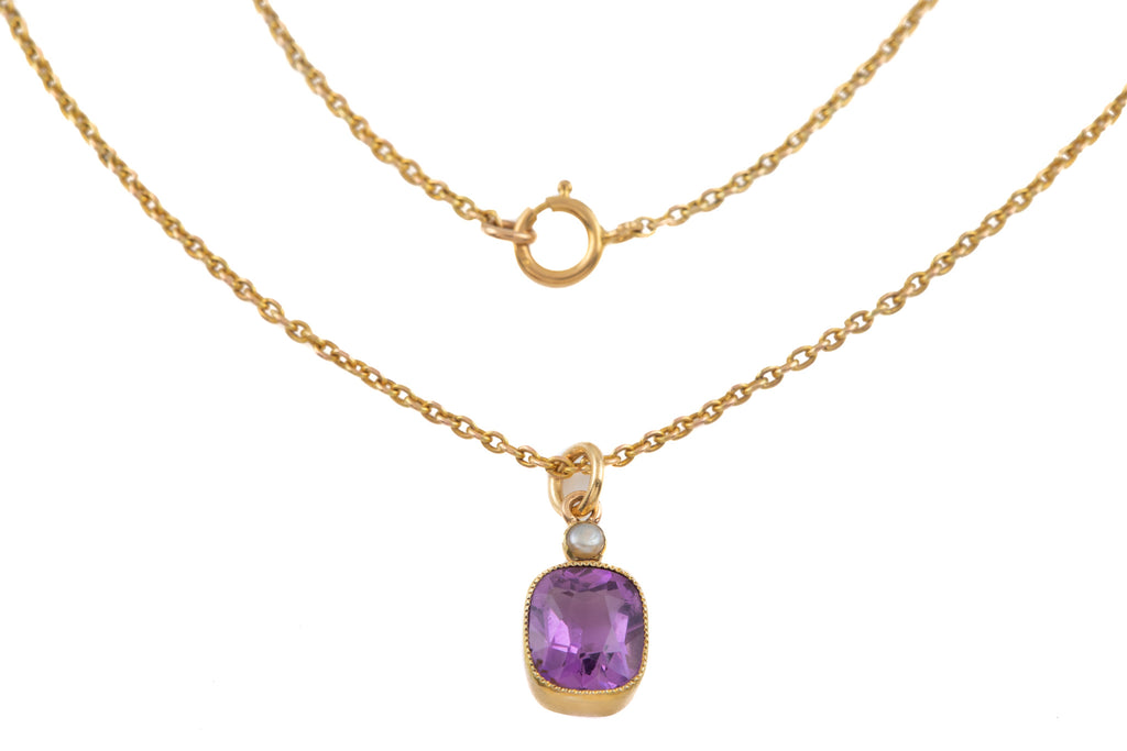 "Edwardian 15ct Gold Amethyst Pearl Pendant, with Antique 15ct Gold 15"" Chain"