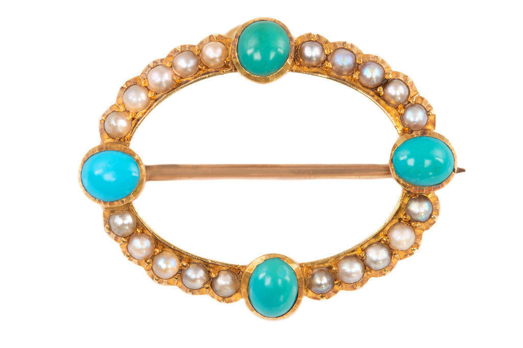 Edwardian 15ct Gold Turquoise Pearl Brooch Pendant