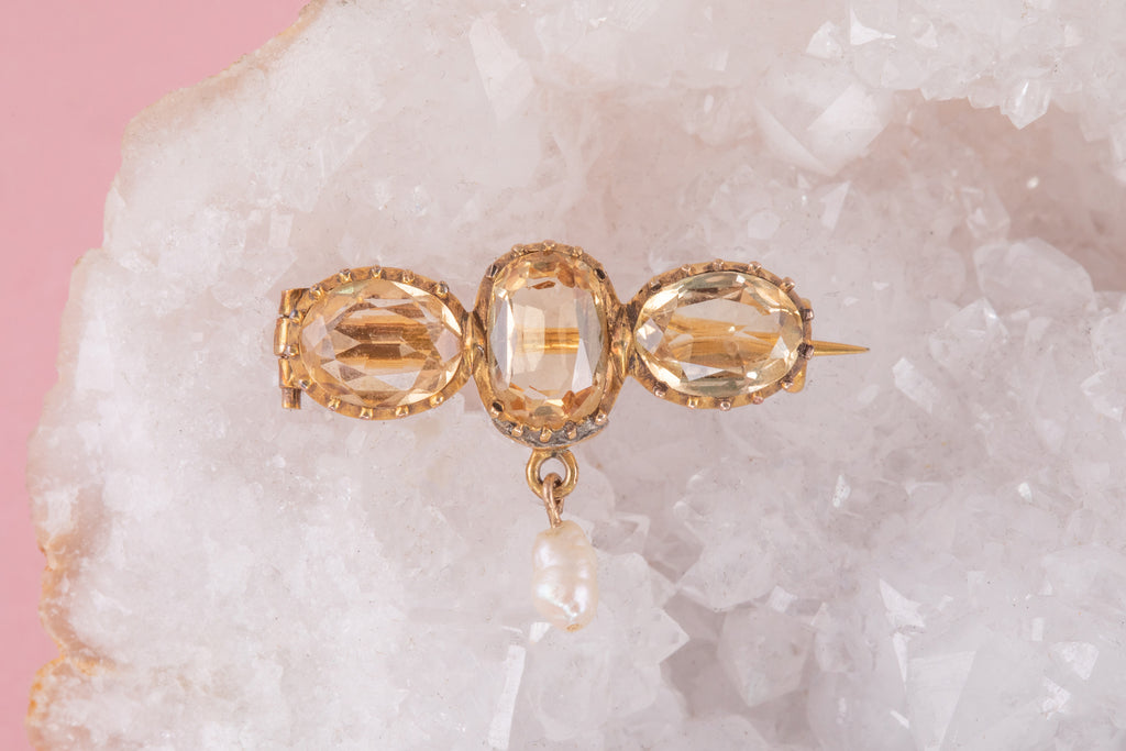 Georgian Gold Citrine Brooch with Baroque Pearl