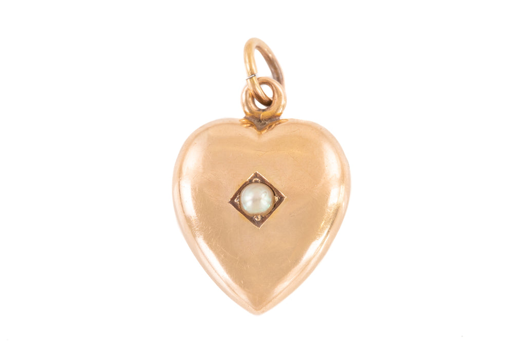 Antique 14ct Gold Pearl Heart Pendant with Locket Back